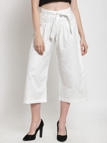 Castle White Solid Cotton Culottes
