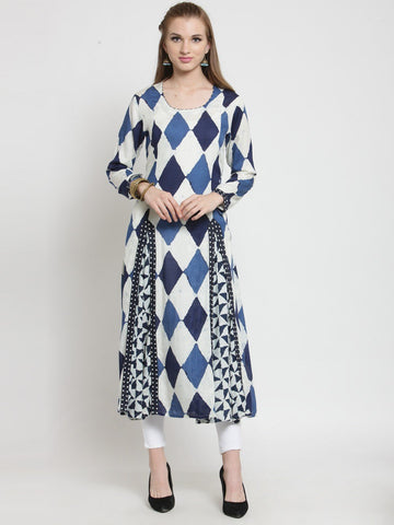 Castle Navy Blue Printed Rayon Kurta