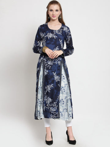 Castle-Dark-Blue-Printed-Rayon-Kurta