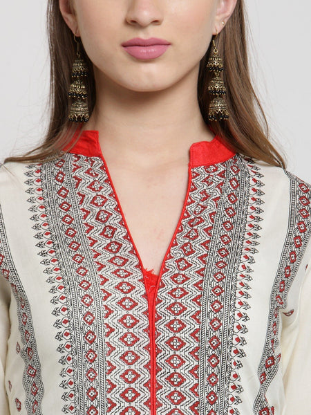 Castle Off-White Rayon Printed Kurta