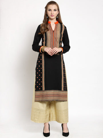 Castle Black Rayon Printed Kurta