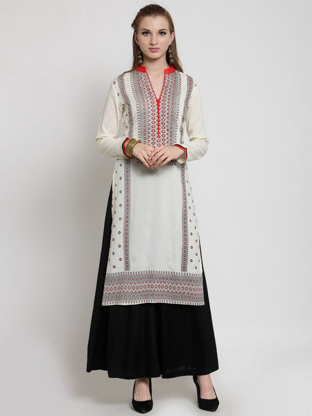Castle Off-White Rayon Printed Kurta Palazzo Set