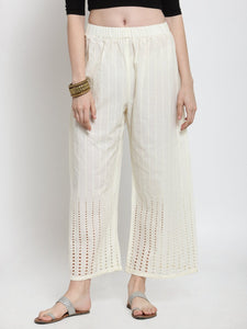 Castle Off-White Cotton Chikankari Palazzo