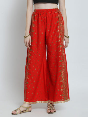 Castle Red Printed Rayon Palazzo