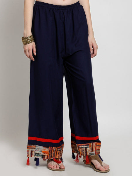 Castle Navy Blue Tassel Embellished Rayon Palazzo