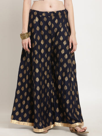 Castle Navy Blue Printed Rayon Sharara