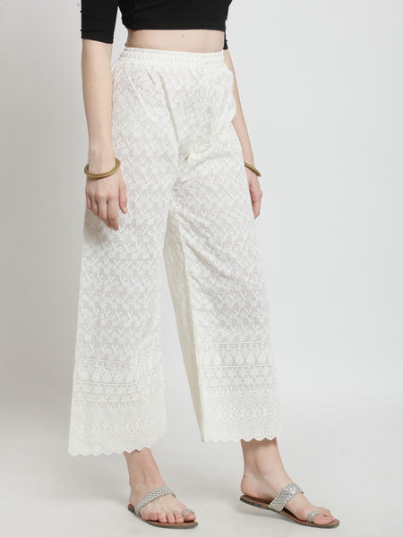 Castle Off-White Chikankari Embroidered Cotton Palazzo-WL