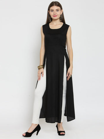 Castle Black Double Slit Rayon Kurta