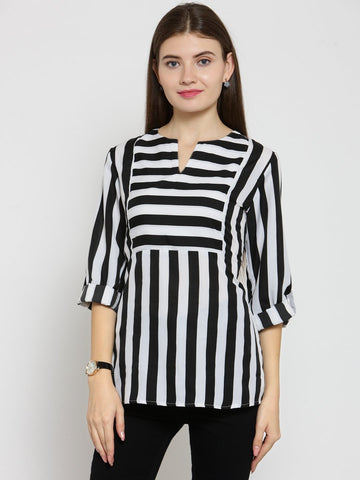 Castle Black Stripes Crepe Top