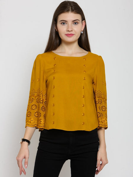Castle Mustard Self Design Rayon Top