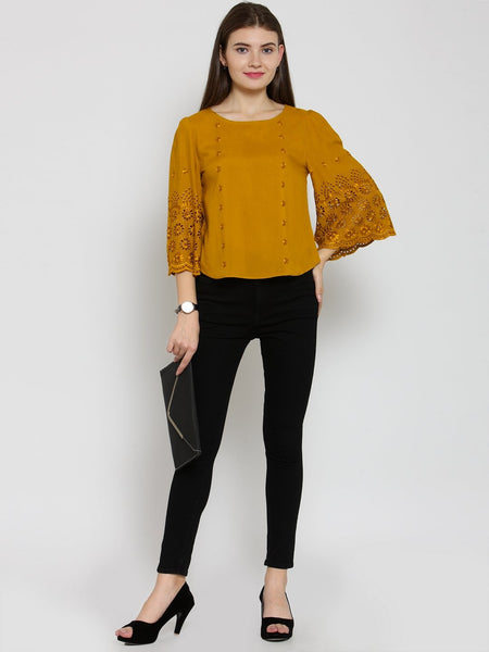 Castle Mustard Self Design Rayon Top - Castle Lifestyle