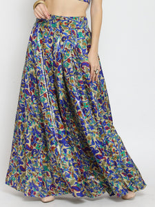 Castle Royal Blue Printed Flared Long Skirt