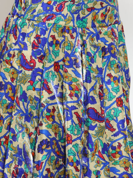 Castle Royal Blue Printed Flared Long Skirt - Castle Lifestyle