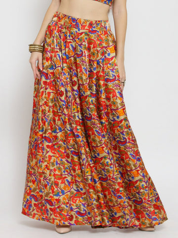 Castle Red Printed Flared Long Skirt