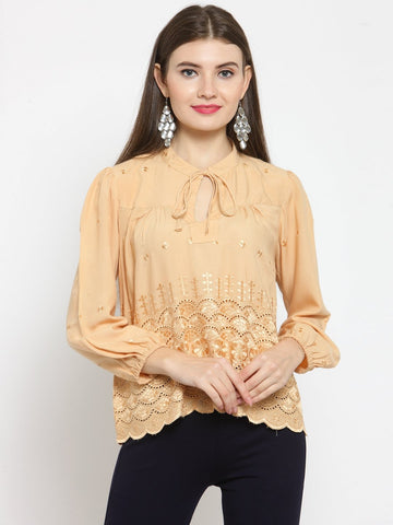 Castle Fawn Self Design Rayon Top