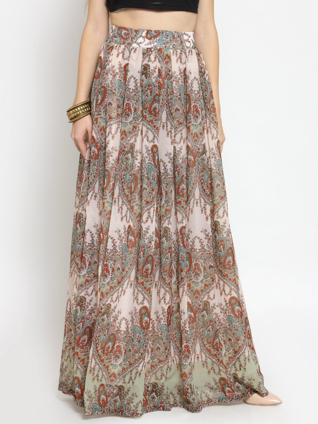 Castle Multicoloured Georgette Printed Maxi Skirt