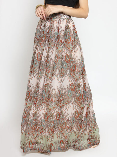 Castle Multicoloured Georgette Printed Maxi Skirt - Castle Lifestyle