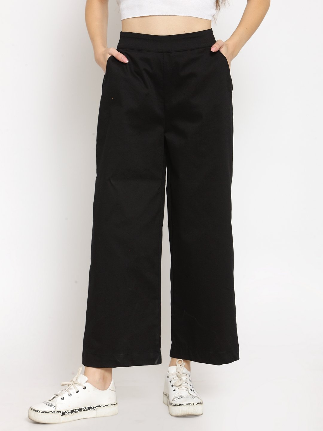 Castle Black Solid Wide leg Pants