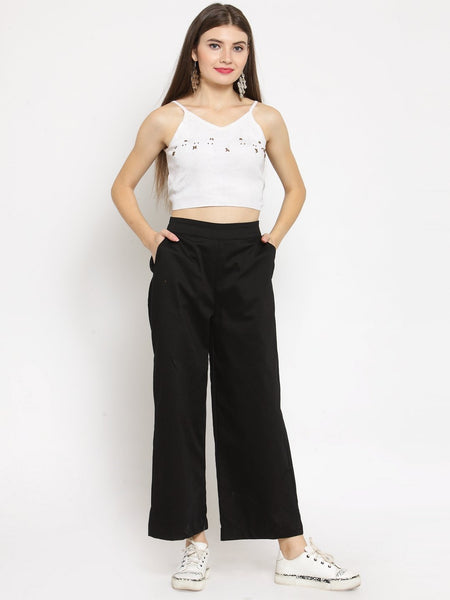 Castle Black Solid Wide leg Pants - Castle Lifestyle