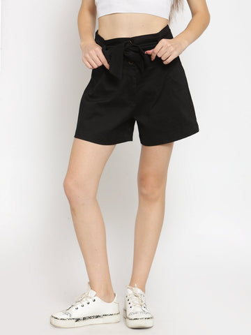 Castle Black Solid Belted Shorts