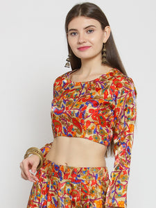 Castle Red Silk Floral Printed Saree Blouse - Castle Lifestyle
