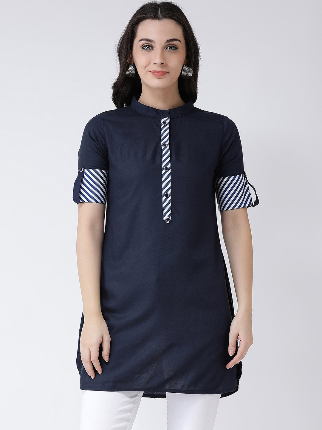 Castle Navy Blue Solid Kurti