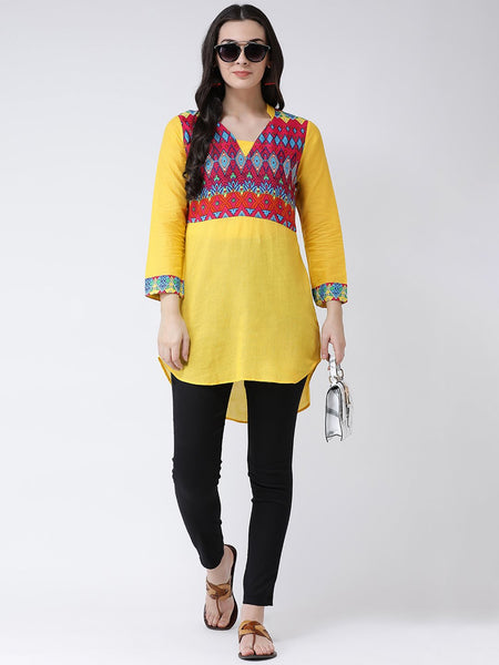 Castle Yellow Short Kurti