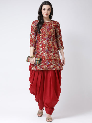 Castle Maroon Printed Banglori Silk Kurta with Salwar