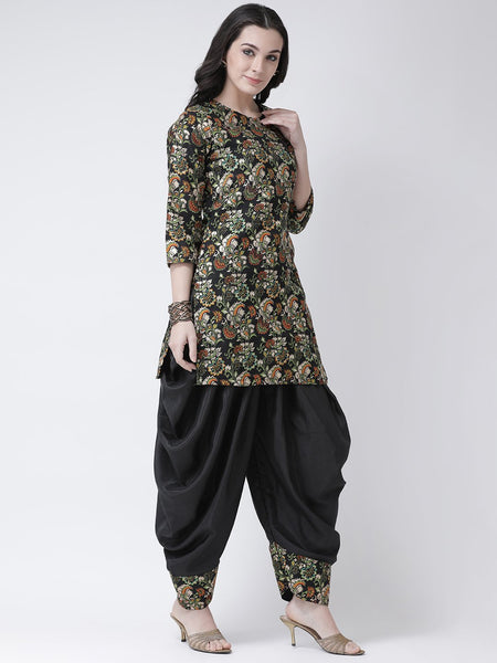 Castle Black Printed Banglori Silk Kurta with Salwar