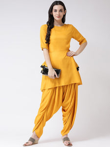 Castle Mustard Solid Kurta with Dhoti Salwar