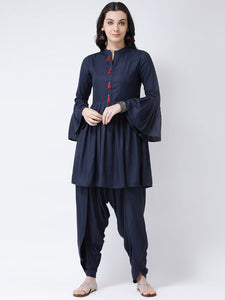 Castle Navy Blue Solid Kurta with Dhoti Salwar