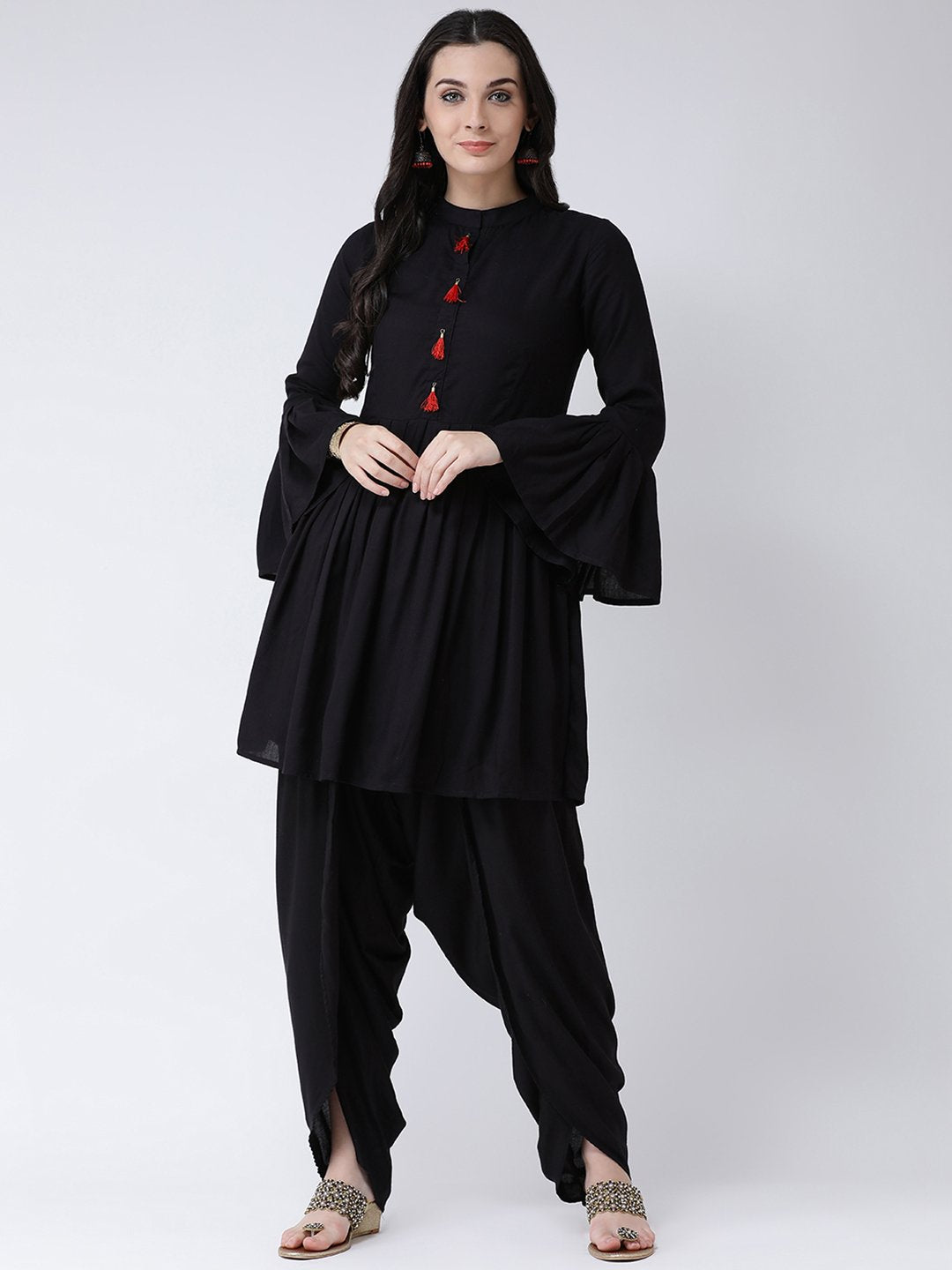 Castle Black Solid Kurta with Dhoti Salwar