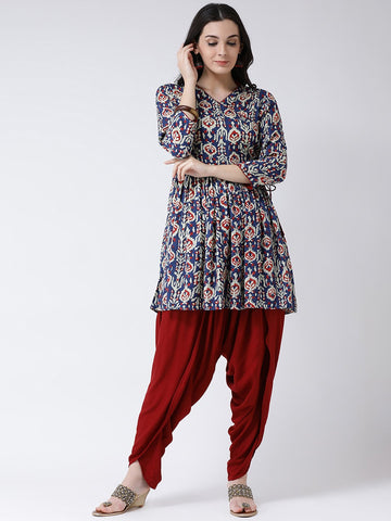 Castle Navy Blue Printed Kurta with Dhoti Salwar