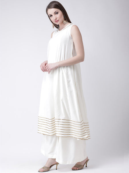 Castle Off-White Solid Anarkali Kurta