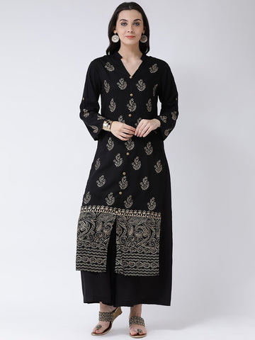 Castle Black Printed A-Line Kurta