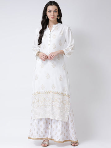 Castle Off-White Printed Straight Kurta
