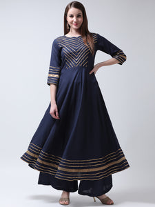 Castle Navy Blue Yoke Design Anarkali Kurta