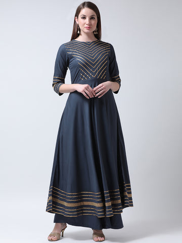 Castle Grey Yoke Design Anarkali Kurta