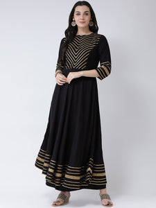 Castle Black Yoke Design Anarkali Kurta