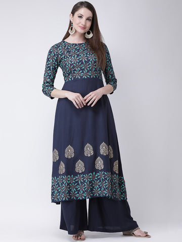 Castle Navy Blue Printed A-line Kurta
