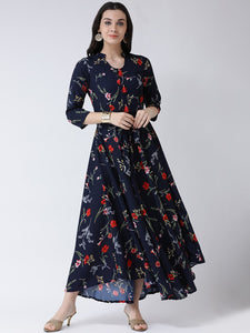 Castle Navy Blue Floral Print Crepe Maxi Dress