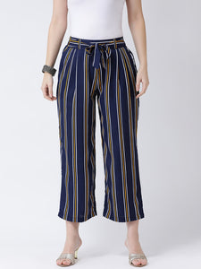 Castle Navy Blue Striped Crepe Culottes