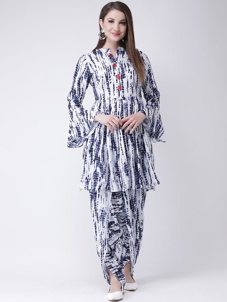 Castle Indigo Printed Kurta with Dhoti Salwar