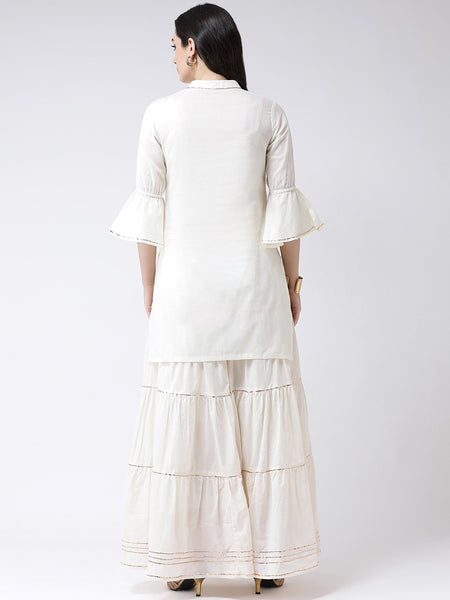 Castle Off-White Solid Cotton Kurta with Gharara Set