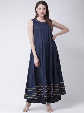 Castle Navy Blue Solid Anarkali Kurta Palazzo Set