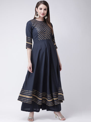 Castle Navy Blue Yoke Design Anarkali Kurta Plazzo Set