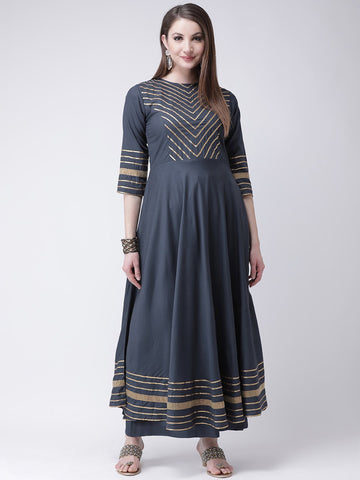 Castle Grey Yoke Design Anarkali Kurta Palazzo Set