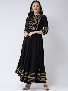 Castle Black Yoke Design Anarkali Kurta Palazzo Set