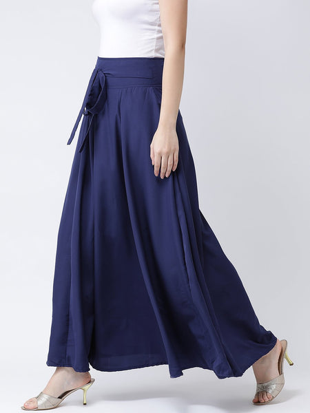 Castle Navy Blue Solid Flared Crepe Skirt