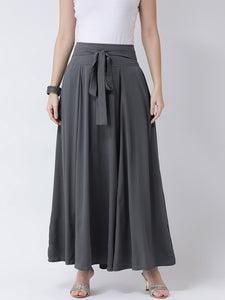 Castle Grey Solid Flared Crepe Skirt